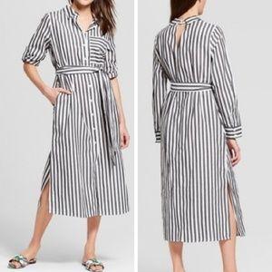Who What Wear Striped Button Down Midi Dress SZ XS